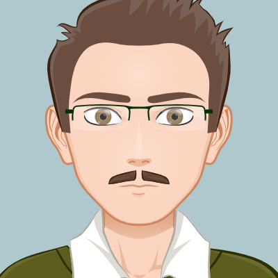 Male wearing glasses has brown hair and a moustache, wearing a white shirt and green top