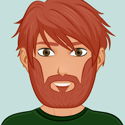 Ginger haired male with full beard waring a dark green shirt